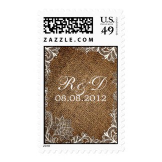 rustic burlap lace country wedding save the date stamps