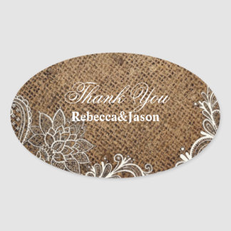 rustic burlap lace country wedding thank you oval sticker