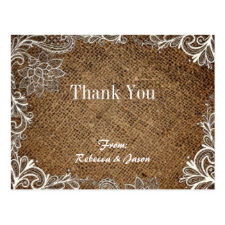 rustic burlap lace country wedding thank you postcard