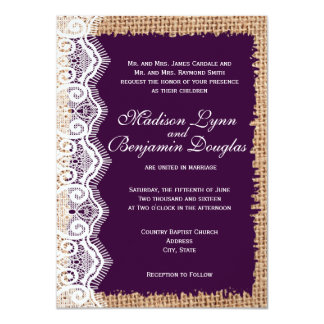 "Rustic Burlap Lace Dark Purple Wedding Invitations 4.5"" X 6.25"" Invitation Card"