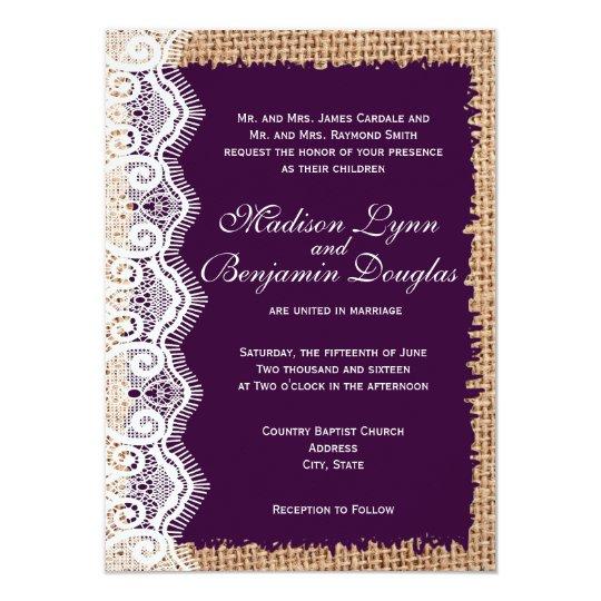 Purple Rustic Wedding Invitations: Rustic Burlap Lace Dark Purple Wedding Invitations