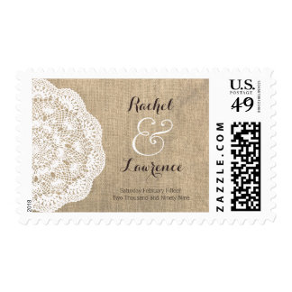 Rustic Burlap & Lace Doily Wedding Postage