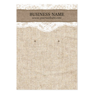 Rustic Burlap & Lace Earring Display Cards Large Business Cards (Pack Of 100)