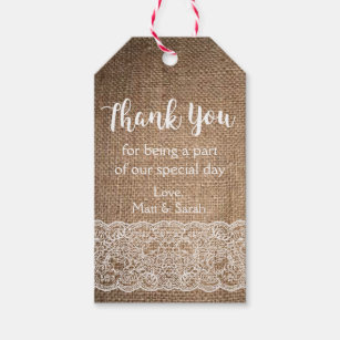 rustic burlap lace favor tag wedding thank you gift tags
