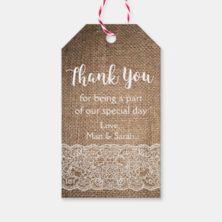 Rustic, Burlap & Lace Favor Tag- Wedding Thank You Gift Tags