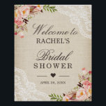 "Rustic Burlap Lace Floral Bridal Shower Sign<br><div class=""desc"">Rustic Burlap Lace Floral Bridal Shower Sign Poster. (1) The default size is 8 x 10 inches, you can change it to any size. (2) For further customization, please click the &quot;customize further&quot; link and use our design tool to modify this template. (3) If you need help or matching items,...</div>"