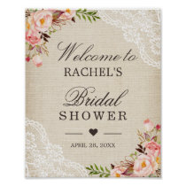 Rustic Burlap Lace Floral Bridal Shower Sign