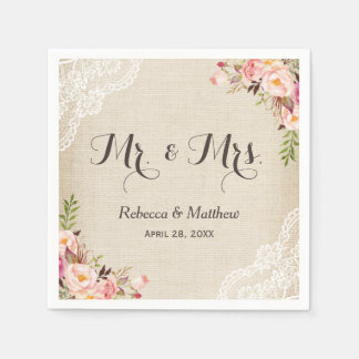 Rustic Burlap Lace Floral Mr and Mrs Wedding Paper Napkin