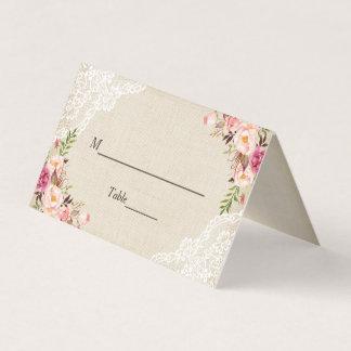 Rustic Burlap Lace Floral Wedding Escort Place Card