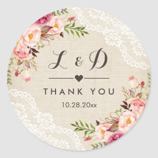 Rustic Burlap Lace Floral Wedding Favor Classic Round Sticker