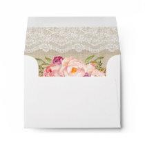 Rustic Burlap Lace Floral Wedding RSVP Envelope