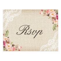 Rustic Burlap Lace Floral Wedding RSVP Postcard