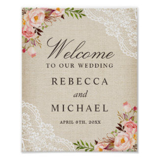 Rustic Burlap Lace Floral Wedding Welcome Sign