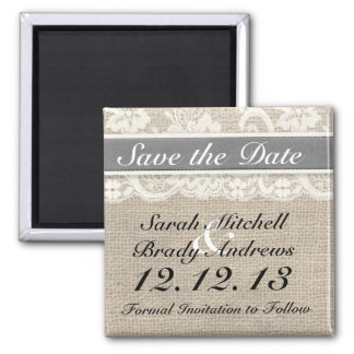 Rustic Burlap Lace Gray Save the Date Magnet