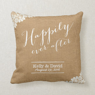 Rustic Burlap & Lace Happily Ever After Wedding Throw Pillow