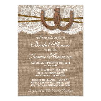 Rustic Burlap & Lace Horseshoe Bridal Shower Custom Invites