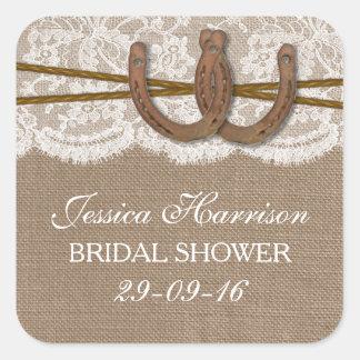Rustic Burlap & Lace Horseshoe Bridal Shower Square Sticker