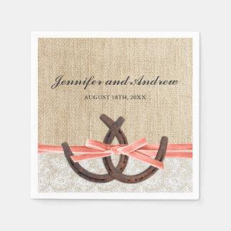 Rustic Burlap Lace Horseshoe Coral Ribbon Wedding Paper Napkin