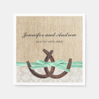 Rustic Burlap Lace Horseshoe Mint Ribbon Wedding Paper Napkin