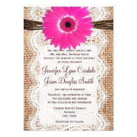 Rustic Burlap Lace Hot Pink Daisy Wedding Invites Personalized Announcement