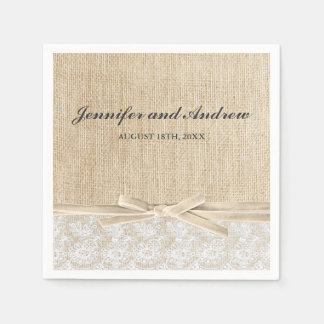 Rustic Burlap Lace Ivory Ribbon Wedding Standard Cocktail Napkin