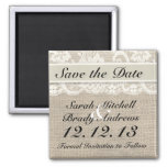 Rustic Burlap Lace Ivory Save the Date Magnet