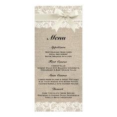 Rustic Burlap & Lace Ivory Wedding Menu Rack Cards