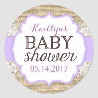 Rustic Burlap Lace Lavender Girl Baby Shower Classic Round Sticker