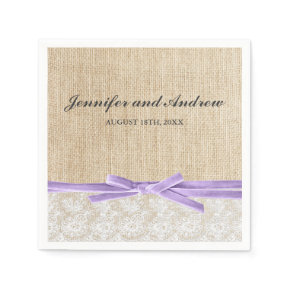 Rustic Burlap Lace Lavender Ribbon Wedding Standard Cocktail Napkin
