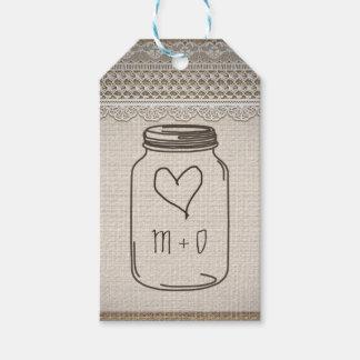 Rustic Burlap Lace Mason Jar Heart Wedding Gift Tags