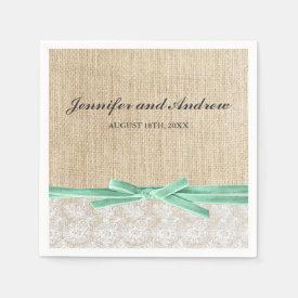Rustic Burlap Lace Mint Ribbon Wedding Napkin