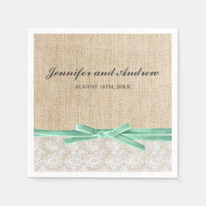 Rustic Burlap Lace Mint Ribbon Wedding Napkin