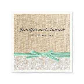 Rustic Burlap Lace Mint Ribbon Wedding Standard Cocktail Napkin