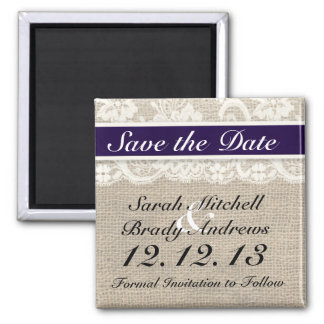 Rustic Burlap Lace Navy Blue Save the Date Magnet