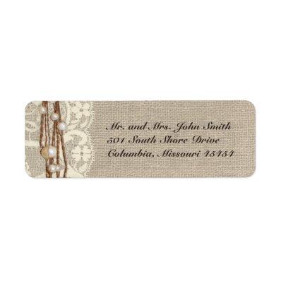 Rustic Burlap Lace Pearls Return Address Label