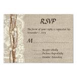 "Rustic Burlap Lace Pearls Wedding Invitation 3.5"" X 5"" Invitation Card"
