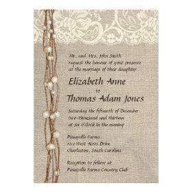 burlap and lace wedding invitations