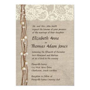 Rustic Pearls Wedding Invitations Zazzle