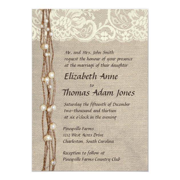 Rustic Burlap Lace Pearls Wedding Invitation | Zazzle