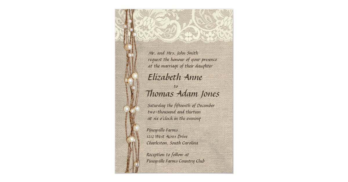 Wedding Invitations Lace And Pearl: Rustic Burlap Lace Pearls Wedding Invitation