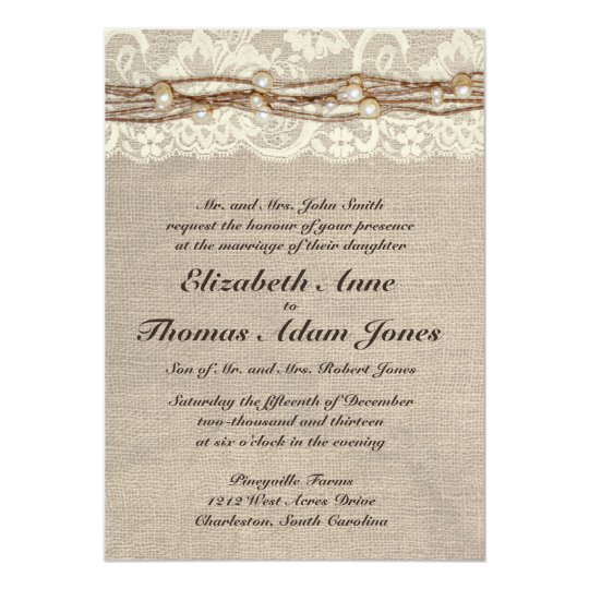 Rustic Burlap Lace Pearls Wedding Invitation