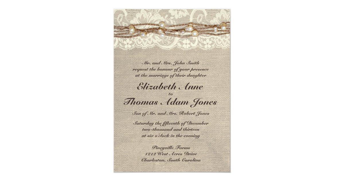 Rustic Burlap Lace Pearls Wedding Invitation Zazzle Com