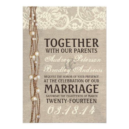 Rustic Burlap Lace Pearly Twine Wedding Invitation