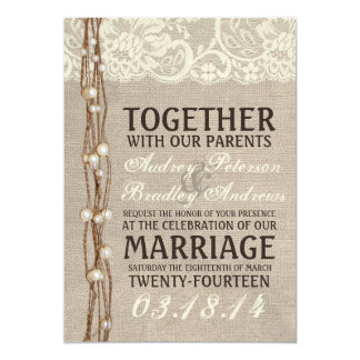 Rustic Burlap Lace Pearly Twine Wedding Invitation