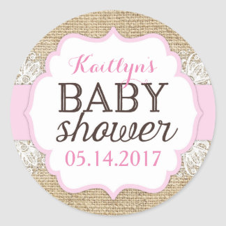 Rustic Burlap Lace Pink Girl Baby Shower Classic Round Sticker