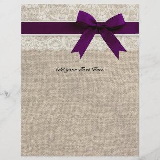 Rustic Burlap Lace Plum Ribbon Letterhead