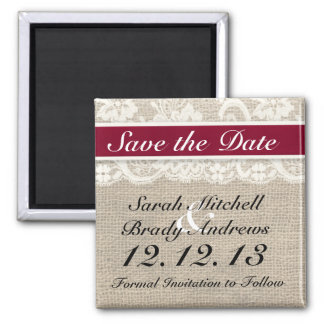 Rustic Burlap Lace Red Save the Date Magnet