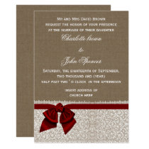 Rustic burlap lace Red Wedding Card