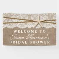 Rustic Burlap, Lace & Starfish Beach Bridal Shower Banner