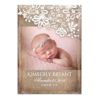 Rustic Burlap Lace String Lights Photo Baby Birth Card
